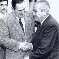 Perón se reúne con Ricardo Balbín, su principal oponente por la UCR en las próximas elecciones presidenciales del 23 de septiembre de 1973, 31 de julio de 1973Perón se reúne con Ricardo Balbín, su principal oponente por la UCR en las próximas elecciones presidenciales del 23 de septiembre de 1973, 31 de julio de 1973