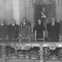 Perón y Evita en el acto de proclama de los Derechos de la Ancianidad, 28 de agosto de 1948